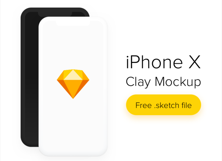 5. iPhone X Clay Mockup Freebie Sketch