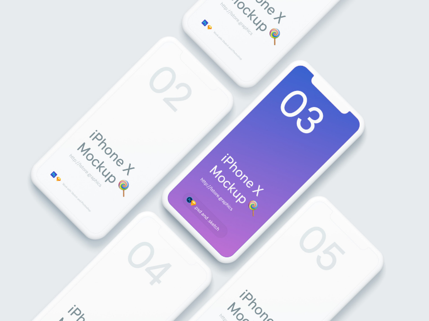 7. Simple iPhone X Mockups