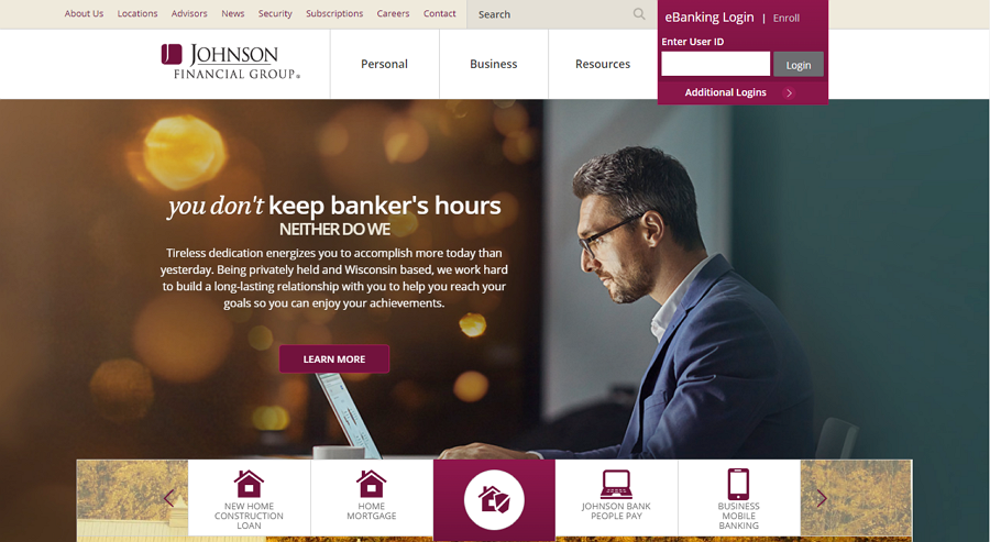Johnson Financial Group – online banking website example
