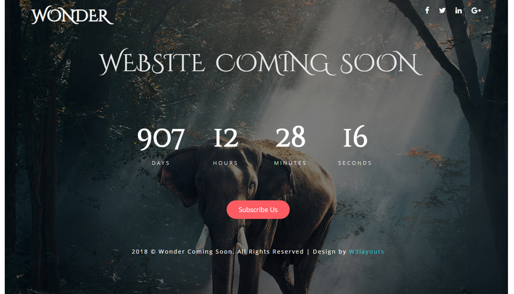WonderComing Soon - Flat Responsive Widget Template