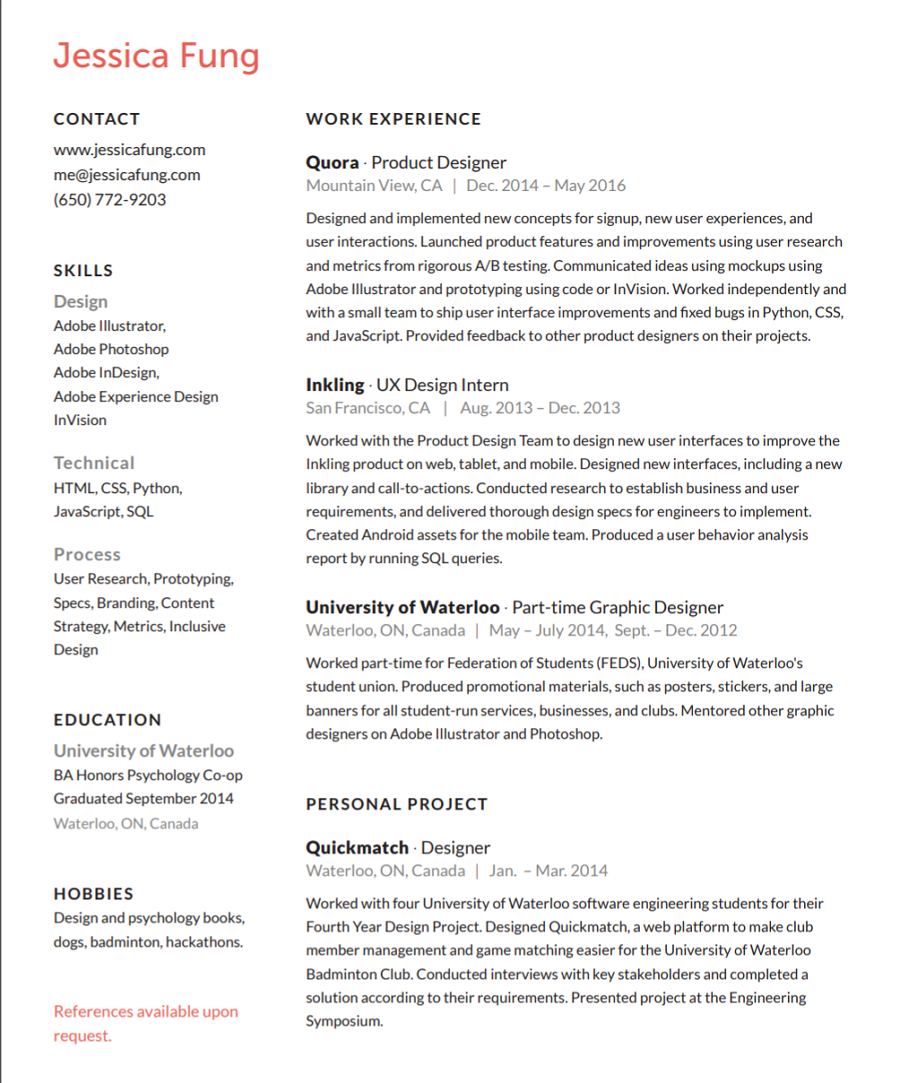 View The Resume Bestfolios Jessica Fung