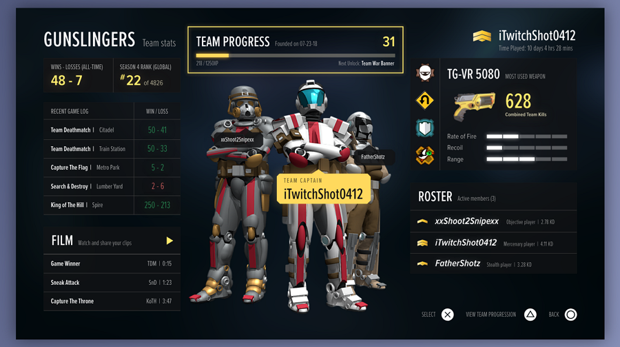 Team Dashboard Screen