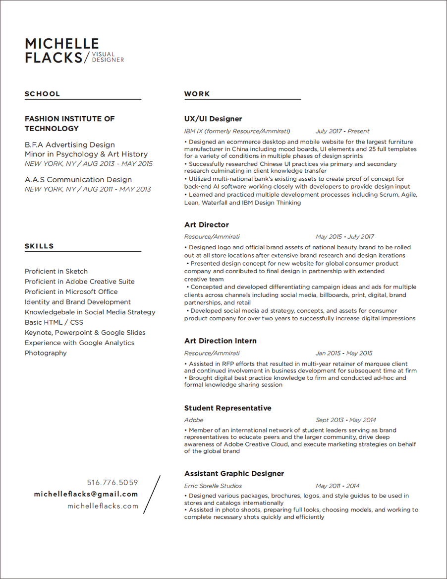 She Divided Her Resume Into 4 Main Parts Name And Title Education Background Work Experience Design Skills You Can Download It In PDF Format
