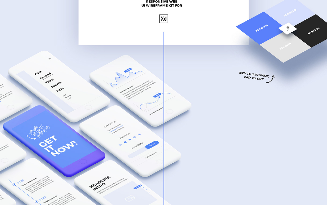 Luxo Adobe XD Responsive Wireframe UI/UX Design Kit