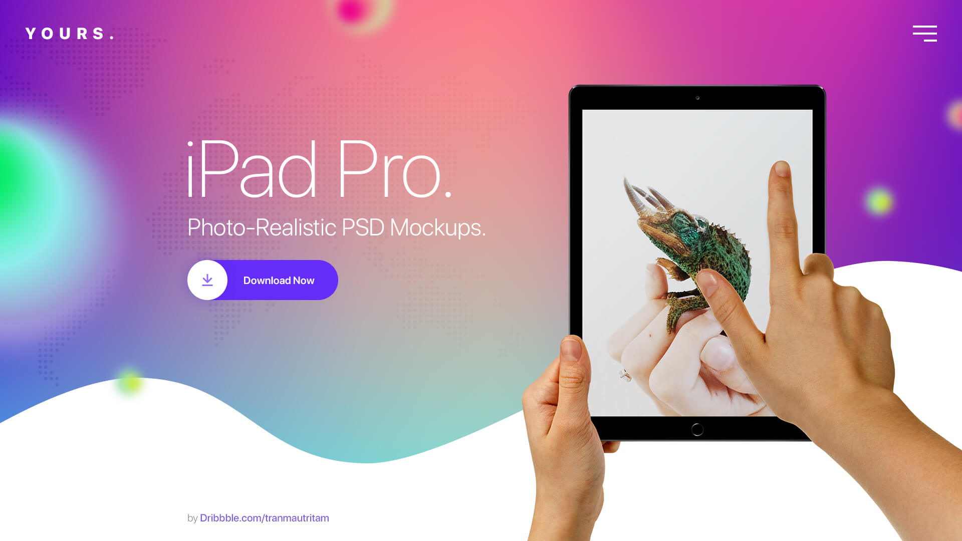 Free Gradient Banner with the Ipad on hand Mockup