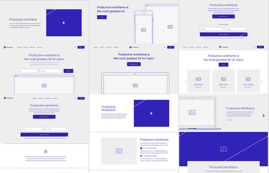 Full Wireframe Kit for Adobe XD
