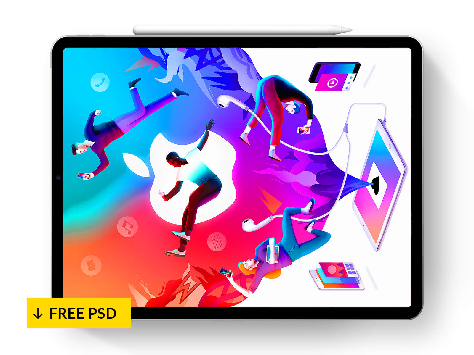 IPad Pro + Pencil 2018 – Mockup [FREE PSD]