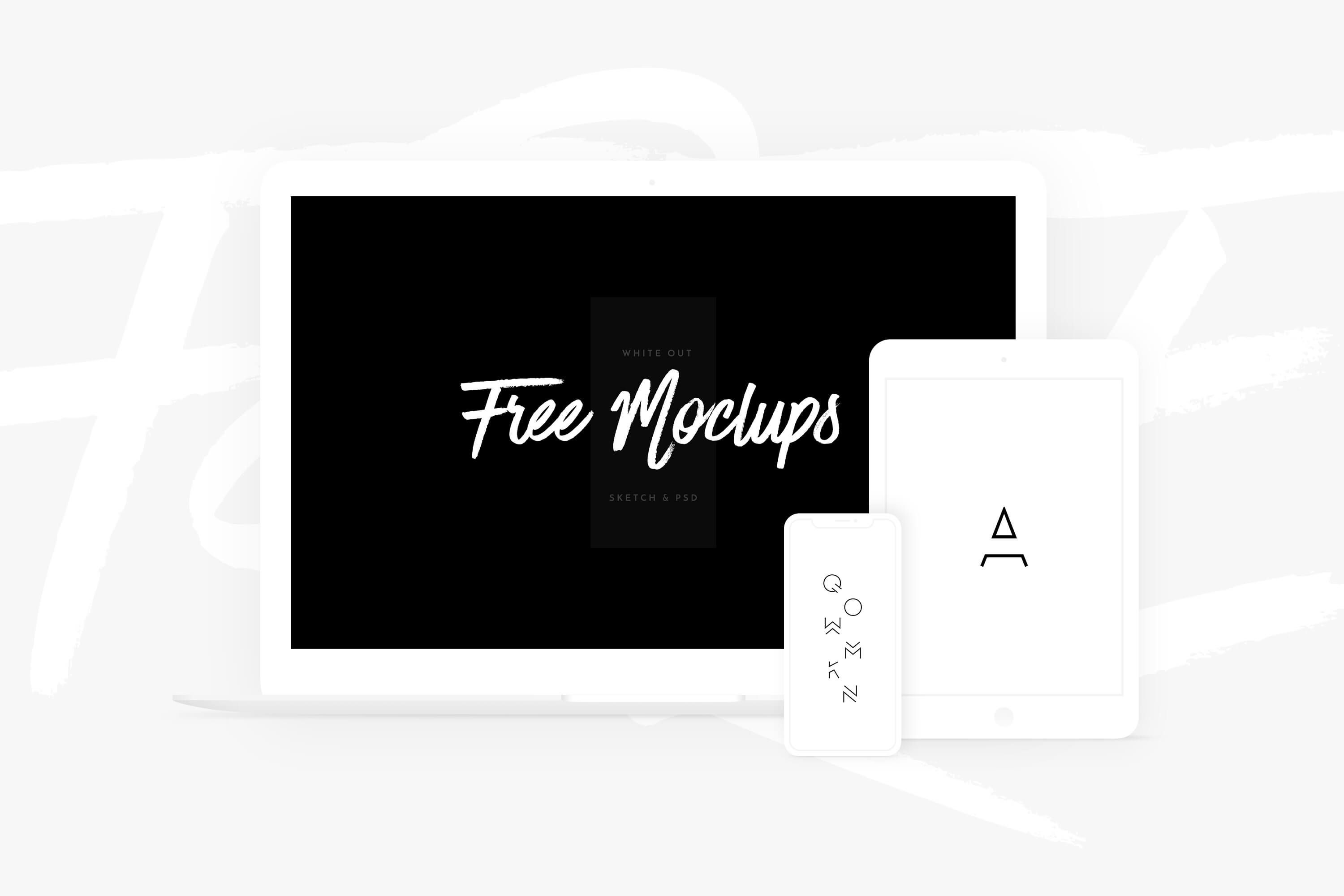 Free White Devices Mockups - Sketch & PSD
