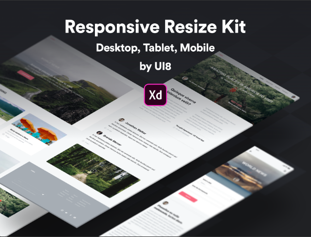 web, tablet & mobile responsive screens for XD
