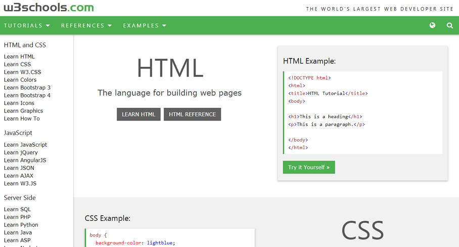 Learn HTML, CSS or JavaScript Free on W3School