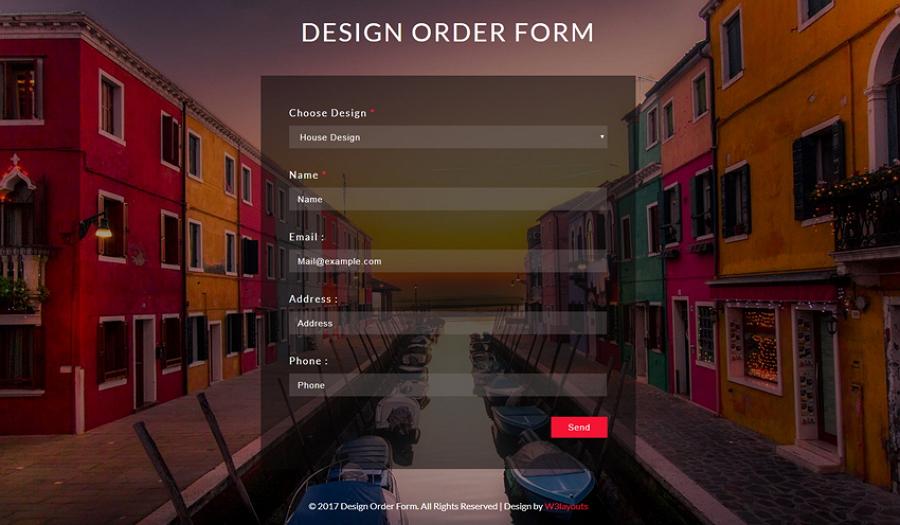 Responsive Flat Order Form Design Template
