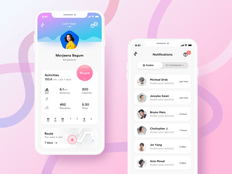 Sports App Profile Page Design