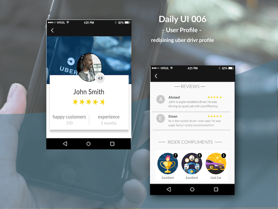 Uber driver profile redesign