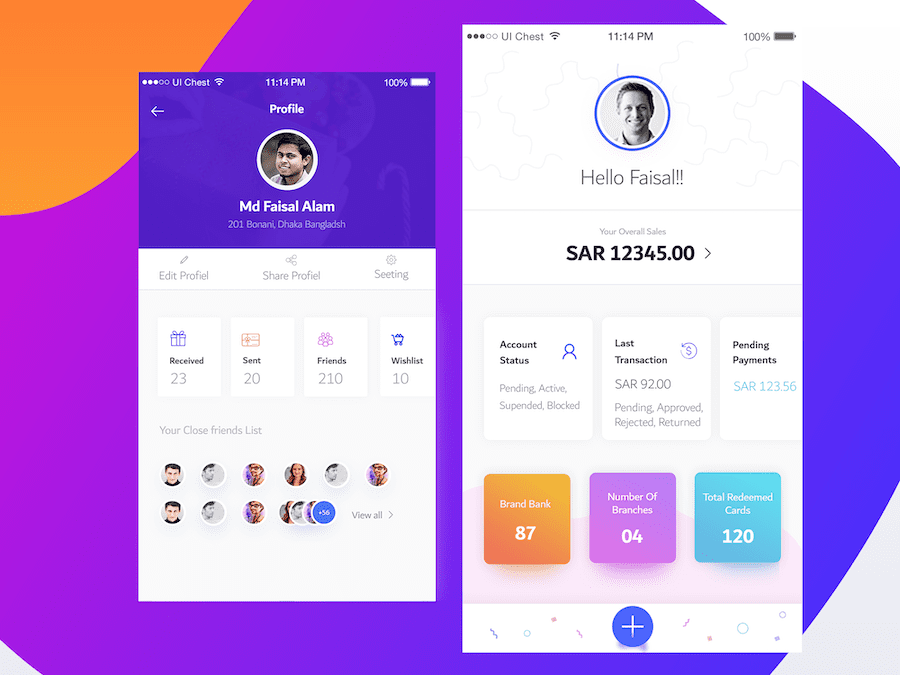 Dashboard and User Profile Design