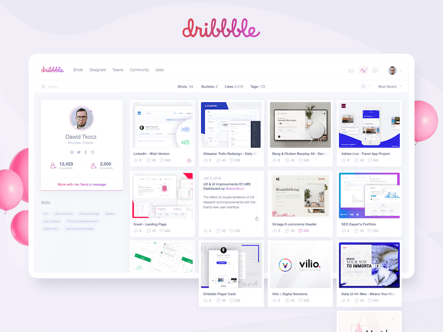 Dribbble's Profile Page Redesign