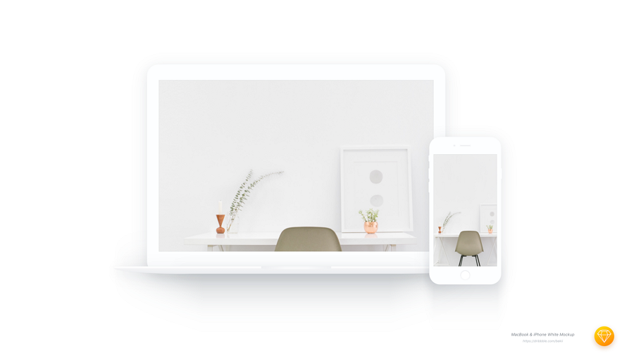 White Macbook & iPhone Mockup Sketch