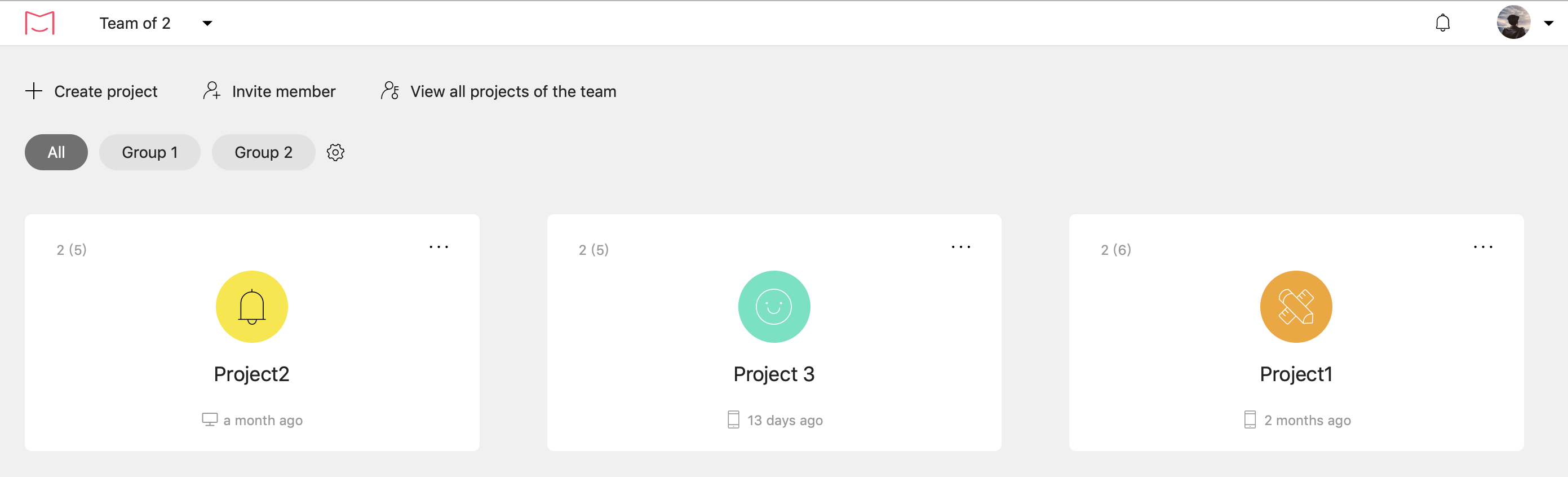 New project management homepage
