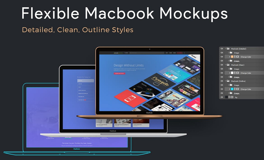 Flexible Macbook Mockups PSD