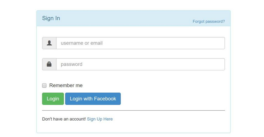 Login & Signup Forms in Panel