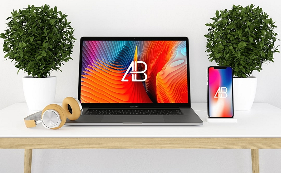 Modern iPhone X and Macbook Mockup PSD