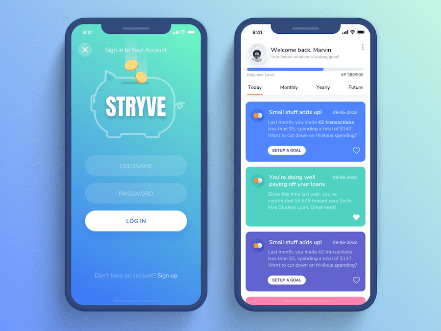 20 Fresh Inspirational Mobile Ui Design Examples Templates On Dribbble