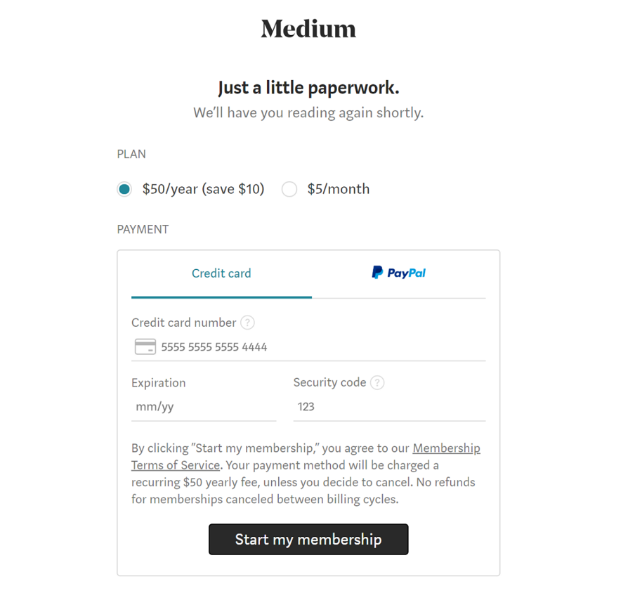 Medium - Upgrade Pay Form