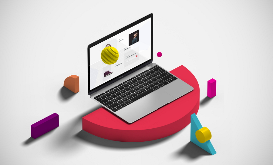 Isometric Macbook with Shapes Mockup PSD
