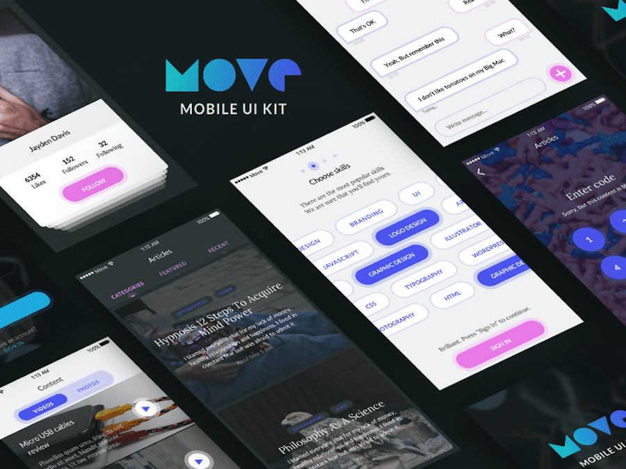 Mobile UI Kit&Free iOS screens