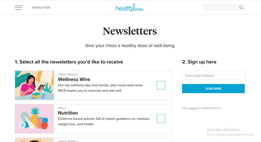 Healthline - Subscription Form with CheckBox Settings