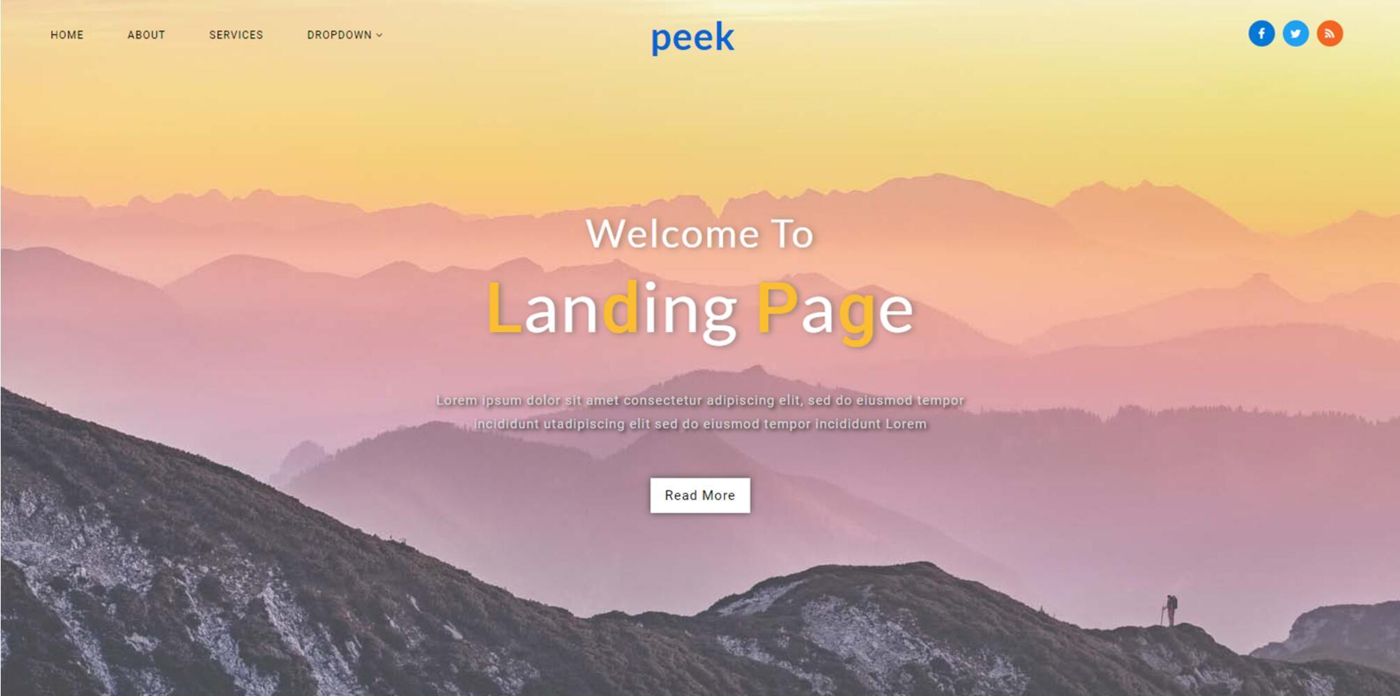 Peek - Responsive Web Mockup for Landing Page