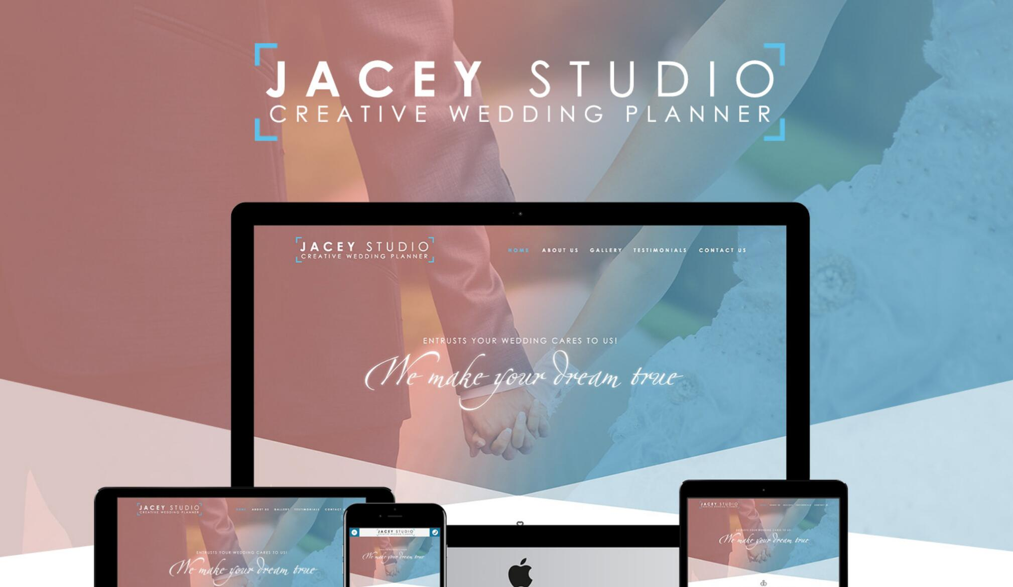 Jacey Studio – Responsive Wedding Planner Website Mockup