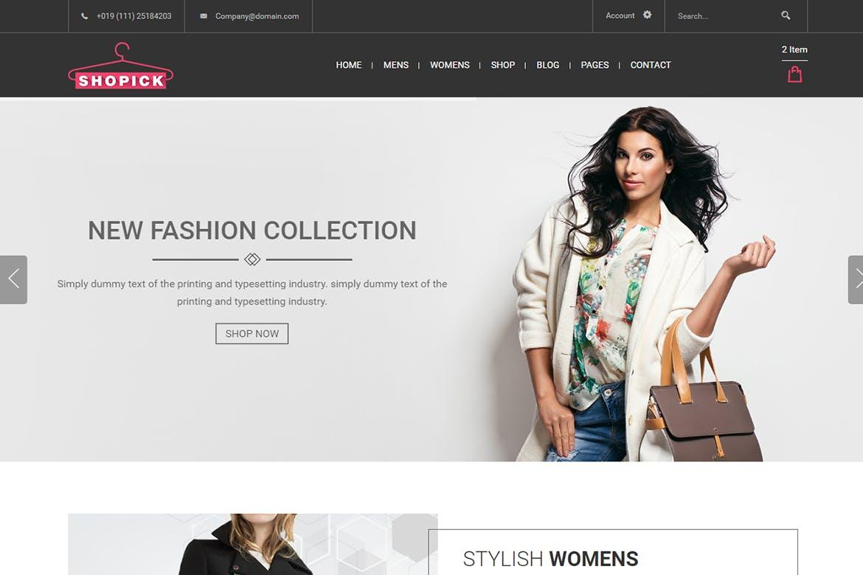 Shopick - eCommerce Responsive Bootstrap Mockup