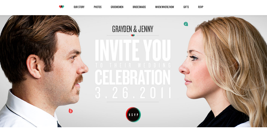Grayden and Jenny Wedding Website Example