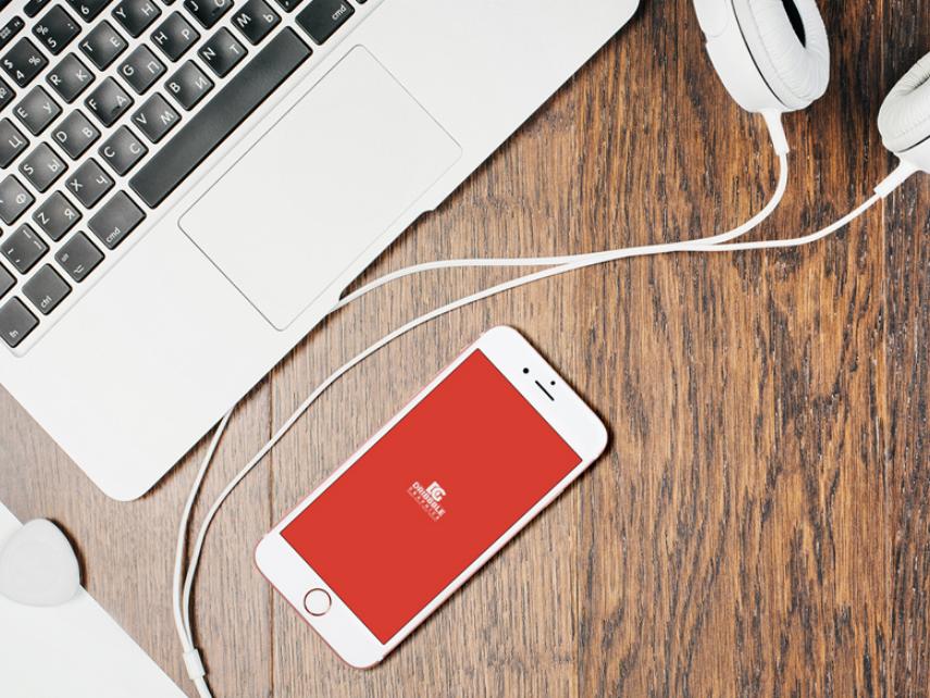 Free iPhone 7 With Desktop & Headphones Mockup 2018
