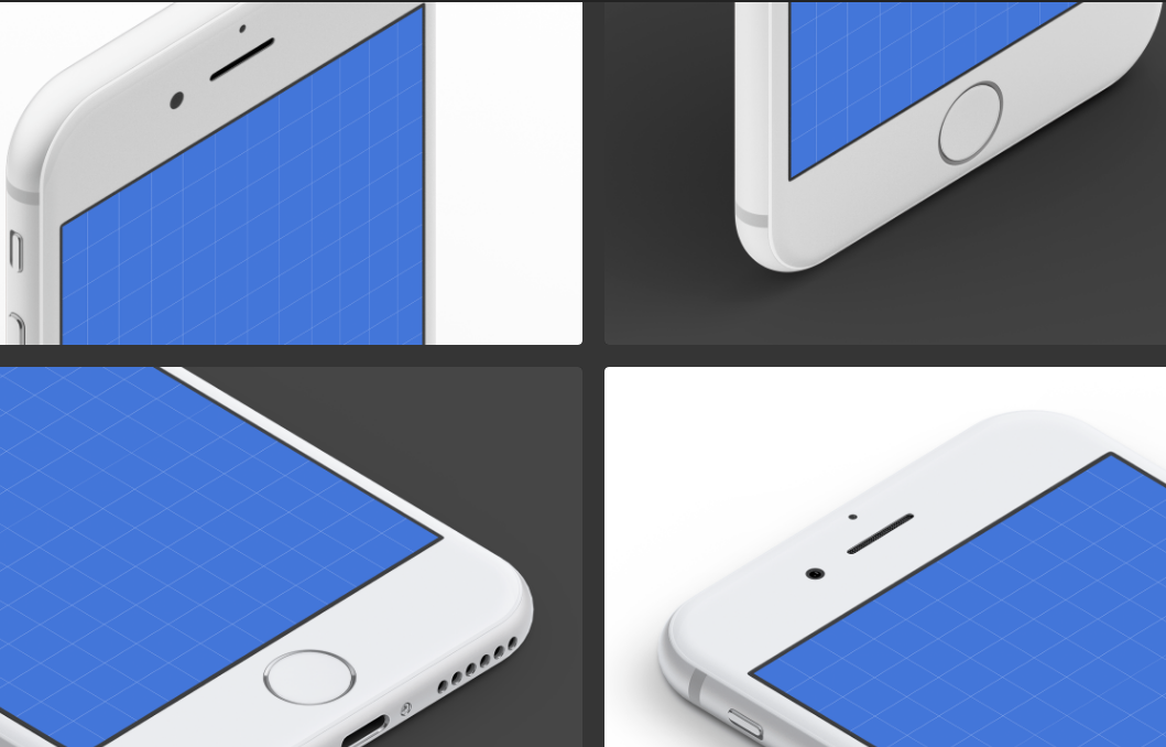 Isometric iPhone 7 Mockups: White