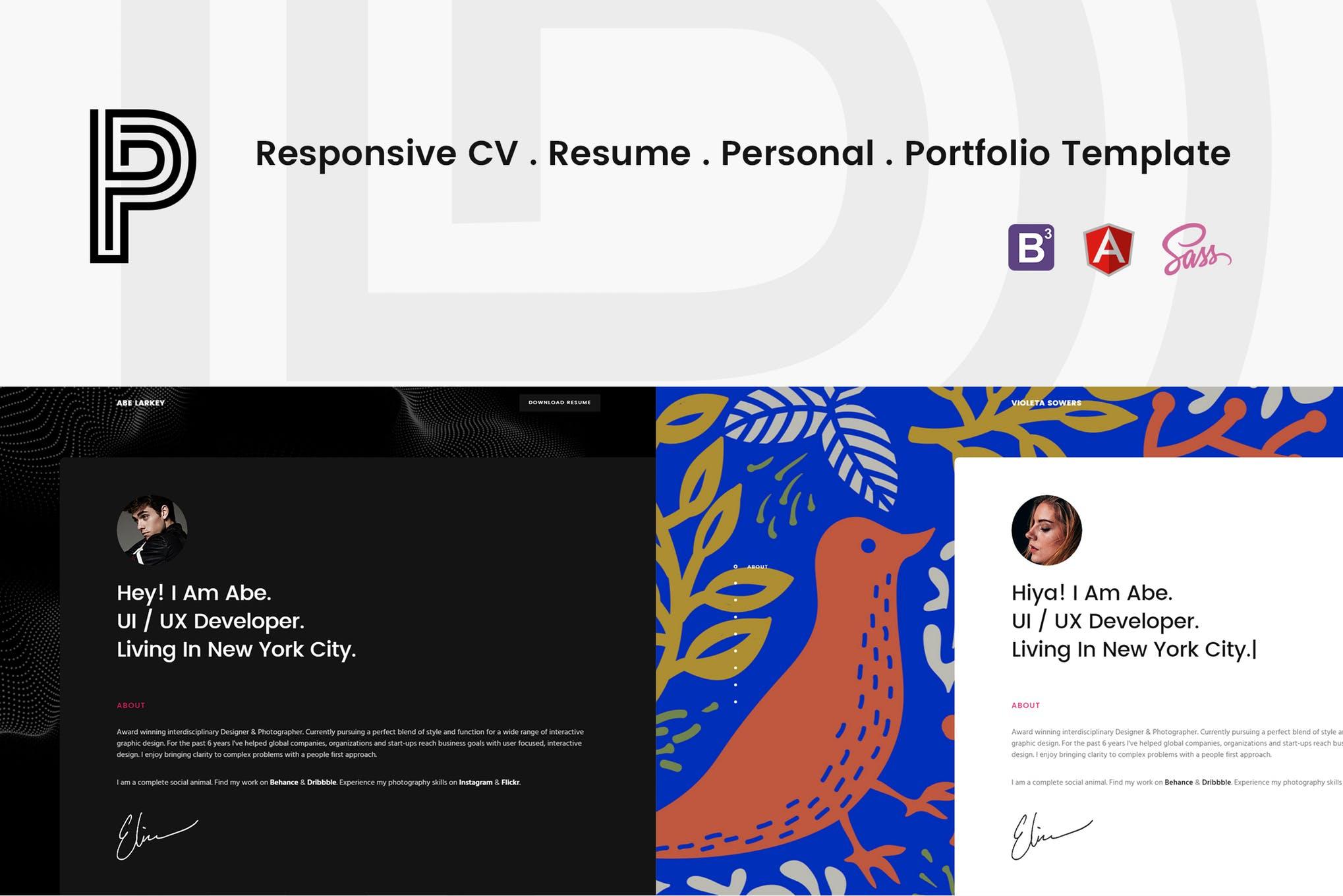 Penelope - Responsive CV/Resume Mockup
