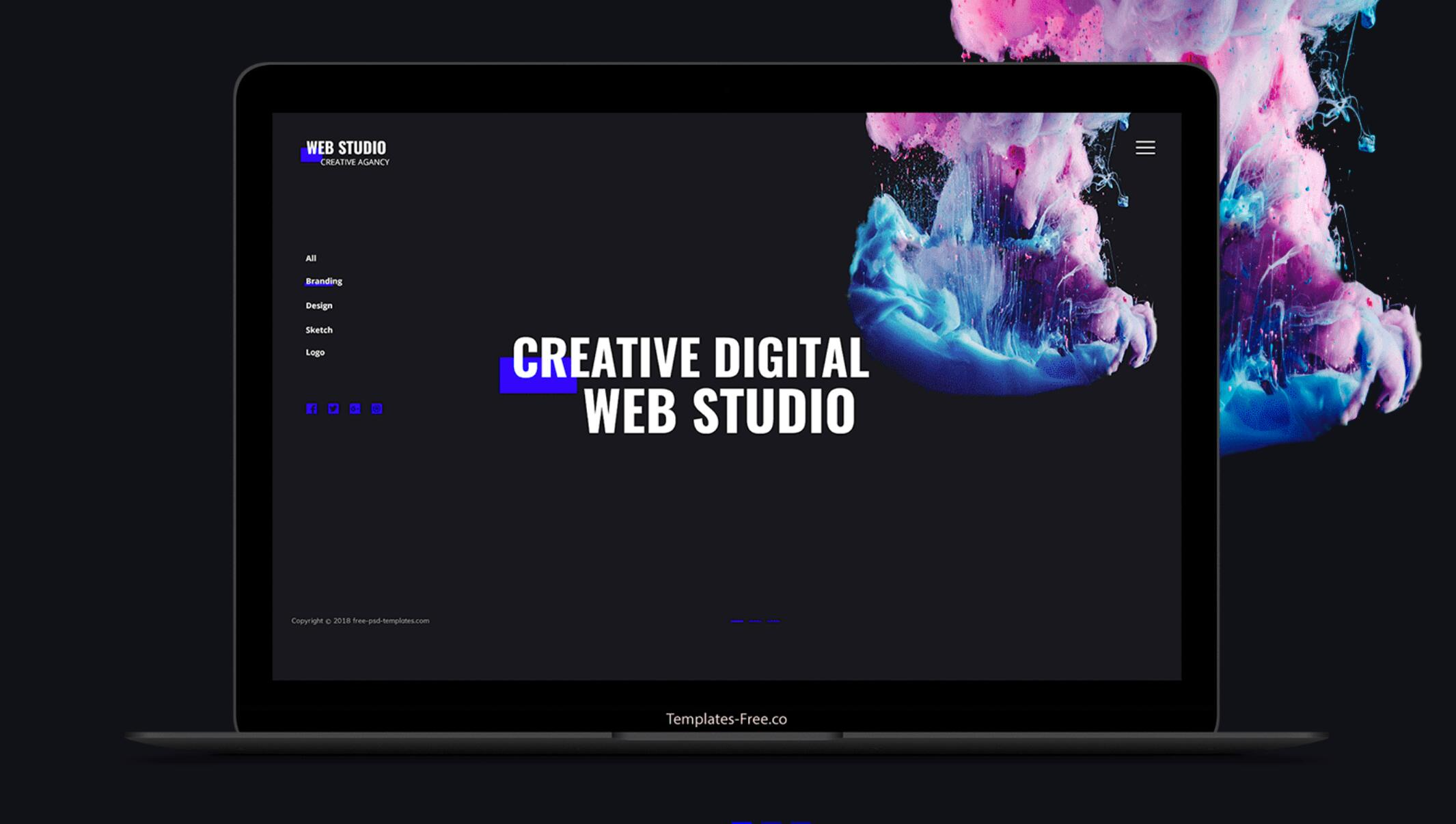 Web Studio – Free Responsive PSD Agency Website Mockup