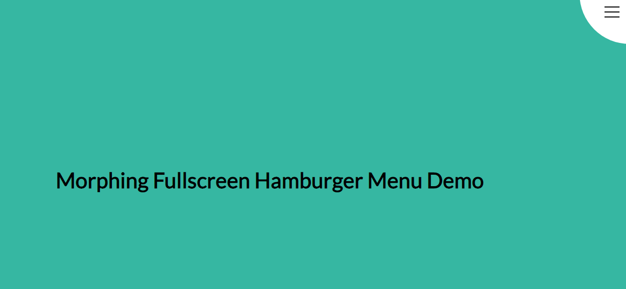 Morphing Fullscreen Hamburger Menu with CSS