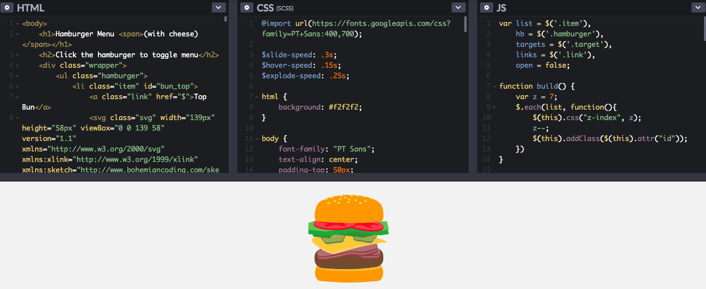 Hamburger Menu with Cheese