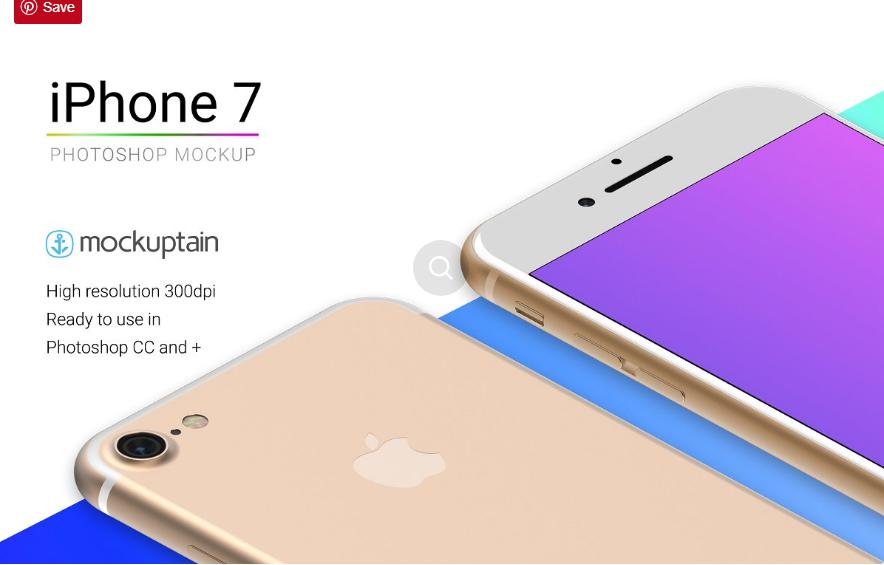 iPhone 7 Mockup White Gold Isometric