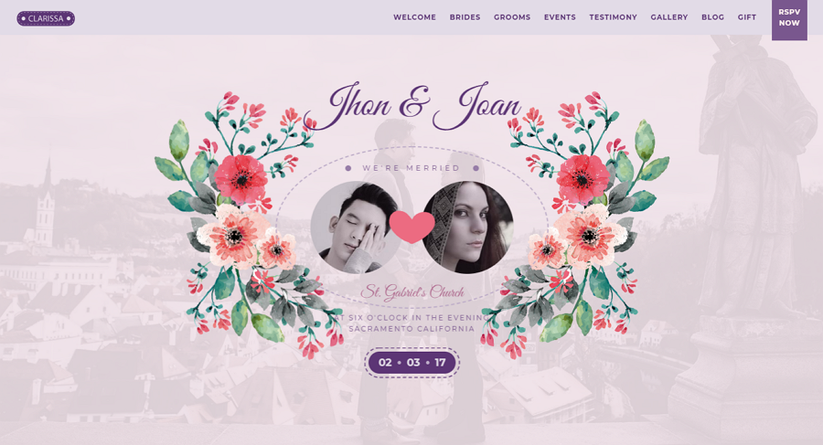 Clarissa Modern HTML Wedding Template