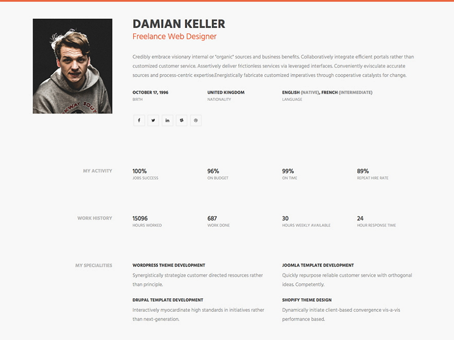 MyProfile – One Page Simple HTML Resume Website Template