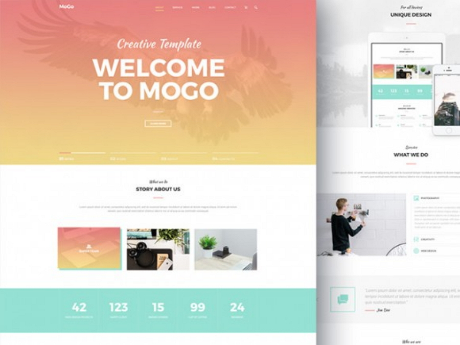 MoGo - Free one-page PSD template for agencies