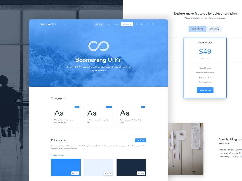 Boomerang Free Bootstrap Web UI Kit