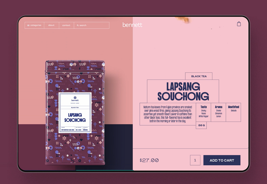 Website design inspiration – Tea E-commerce Product Card