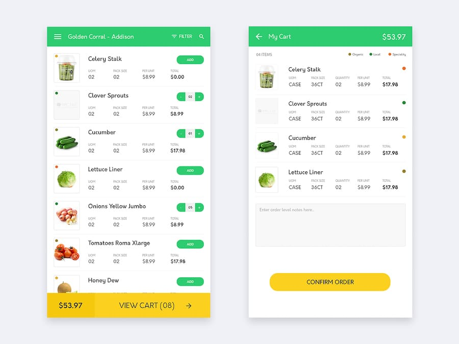 Product List & Cart Screen Design for Mobile App