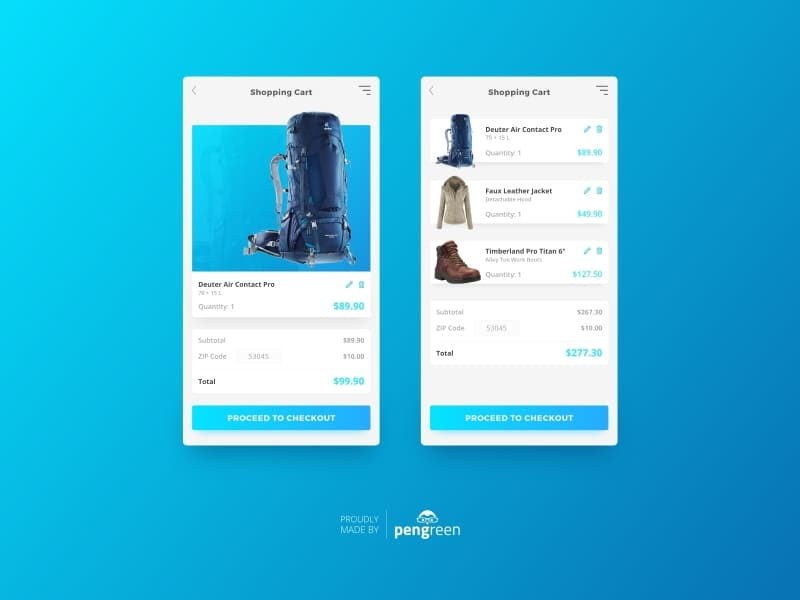 Daily UI Challenge - Shopping Cart