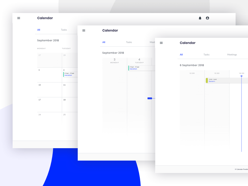 Web Calendar UI Sketch Resource