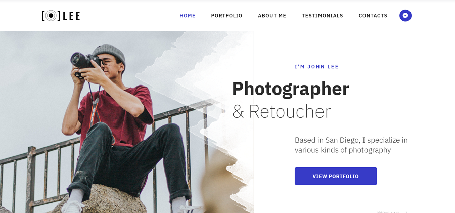 Lee - Photographer Portfolio Minimal HTML5 Landing Page Template Without CSS
