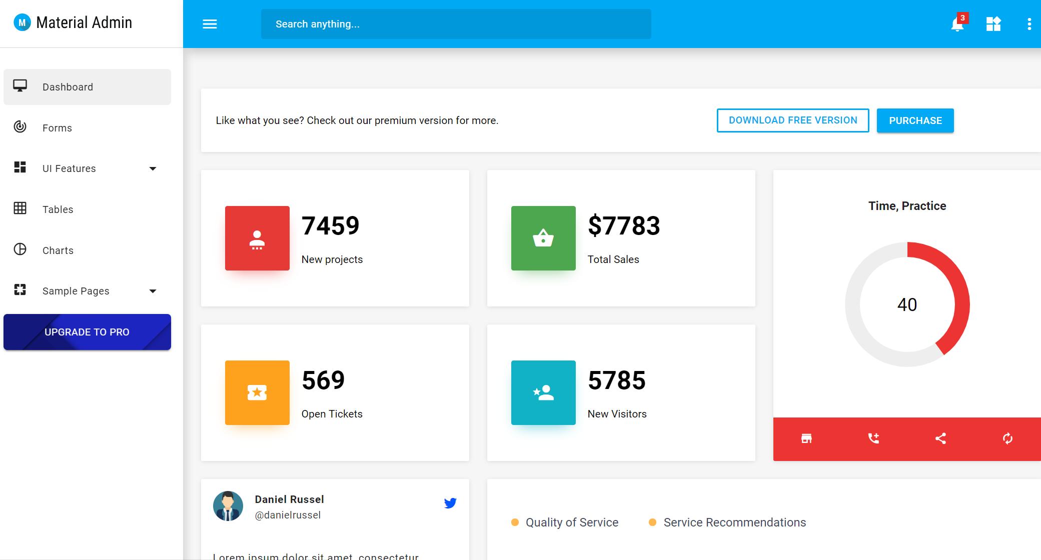 Material Admin –Admin Board Example